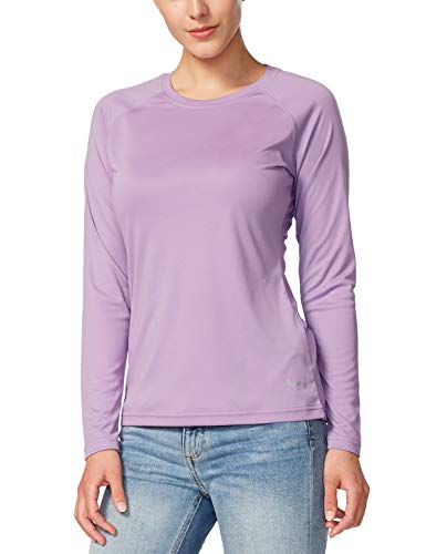 BALEAF Women's UPF 50+ Sun Protection T-Shirt SPF Long/Short Sleeve Outdoor Performance Hiking Shirt Purple Size L