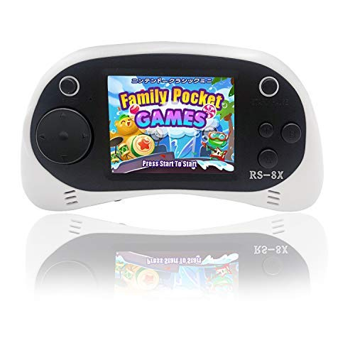 Kids Video Games System, RS-8X [Upgrade] 16 Bit HD Portable Game Console Built-in 42 Classical Games with 2.5 Inch LCD Rechargeable Handheld Video Console Support AV/TV, Best Gifts for Children(White)