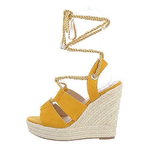 Ital-Design Sandalias para mujer con cuña, color Amarillo, talla 39 EU