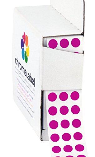 ChromaLabel 1/4 Inch Round Permanent Color-Code Dot Stickers, 1000 per Dispenser Box, Fluorescent Purple