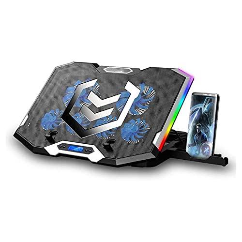 ELXSZJ XTZJ Laptop-Kühlkissen Silber Flügelkühler, RGB-Beleuchtung Laptop-Kühler-Lüfter kompatibel 11-17.3