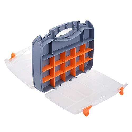 YeVhear - Caja de herramientas de 15 pulgadas, caja de herramientas de plástico con bandeja y organizadores, incluye 31 cajas de piezas pequeñas extraíbles