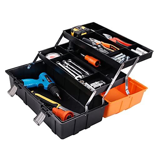 Capa 3 Caja de Herramientas 16.5 pulgadas Fold caja de almacenamiento de plástico de hardware con ELEVABLES bandejas multi hogar Reparación coche Contenedor de almacenamiento