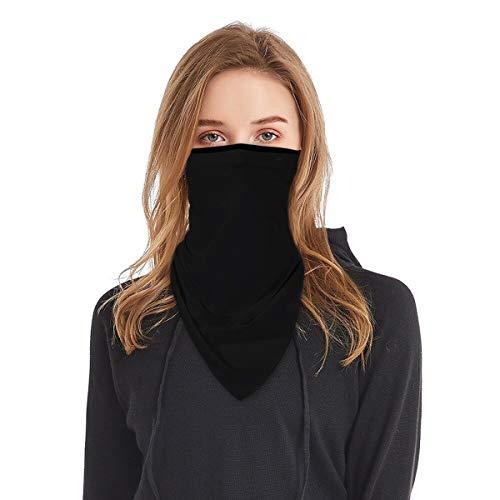 Bandana Face Mask with Ear Loops Women Men Sport Neck Gaiter Triangle Scarf Black