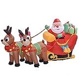 Onlyonehere Aufblasbarer Weihnachtsmann mit Schlitten LED Beleuchtet Rentiere Weihnachten Santa Deko Weihnachtsdeko Figur,Party Decoration for Outdoor Indoor Home Garden Family Prop Yard