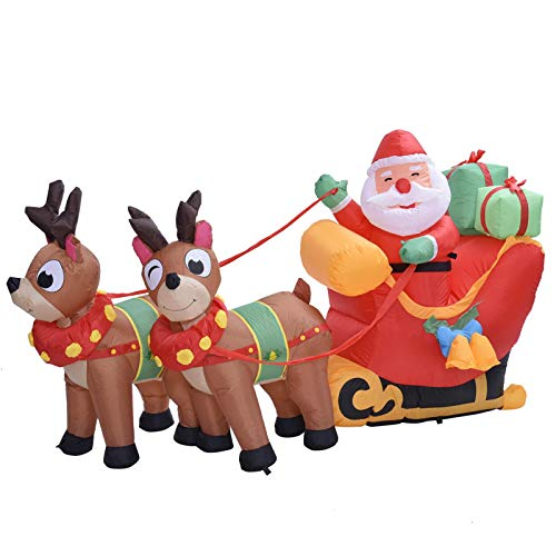 5.9ft Christmas Inflatable Santa Reindeer Sled with Bright LED Lights Decor Blow up Lighted Yard Decor, Cute Fun Large Yard Decorations for Outdoor Indoor Home Garden Family Prop Yard