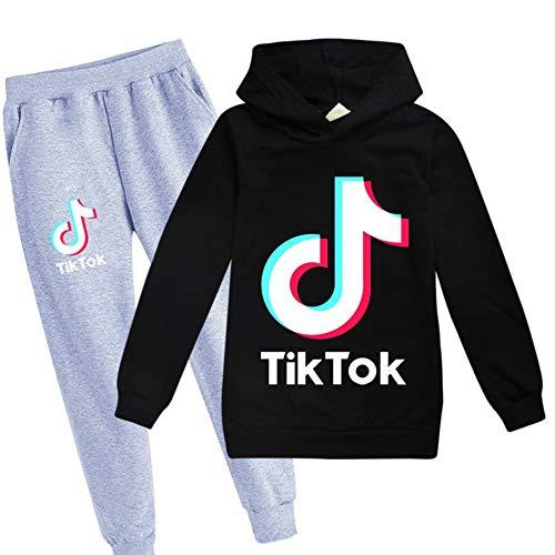 NING TikTok Fashion Hoodie + Black Grey Trousers (black1, 170cm)