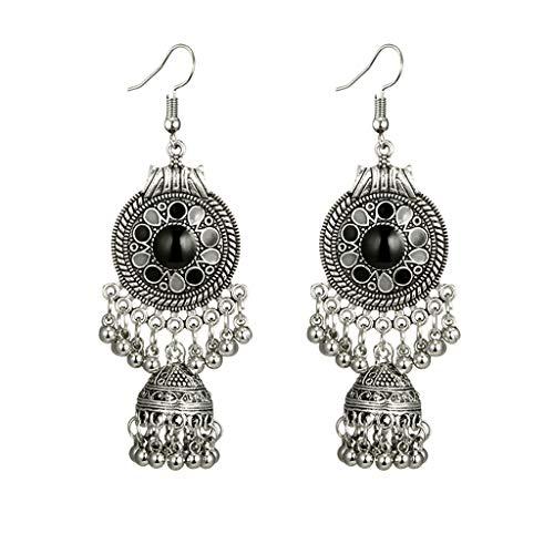 UINGKID Damen Ohrringe Mode Ohrstecker Vintage Frauen Retro Ausschnitt Runde Kugeln Glocken Runde Totem Patterns Schwarzer Edelstein-Ohrring