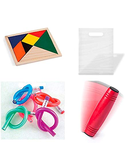 Divertido pack de detalles infantiles 30 juegos habilidades rondux + 30 lapices flexibles + 30 puzzles ingenio para regalar en cumpleaños
