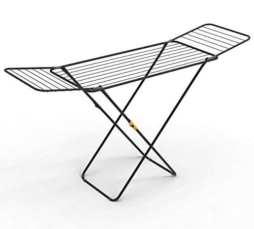 Rörets Wäscheständer Sussi Black – verriegelbare Flügel – Sicherheitssperre – 52x176x96cm – 18 m Trockenfläche - Schwedisches Design