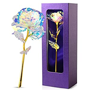 Silk Flower Arrangements JOBOSI Violet Box Colorful Rose Flower Unique Gifts for Women Galaxy,Gift for Her/Wife/Mom/Girlfriend/Girl in Valentines Day, Mothers Day, Anniversary, Wedding, Birthday