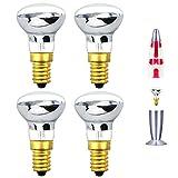 Bonlux 25W R39 E14 Faretto SES Lampadina, Lampadina a Incandescenza Riflettore, Sostituzione della Lampada Lava Lite (Luce Calda, 4-Pezzi)