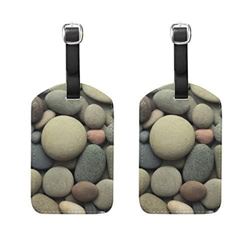 Etiqueta de Equipaje para Maleta de Equipaje 2 PCS Nature Stone Leather Travel Bag Etiquetas de dirección