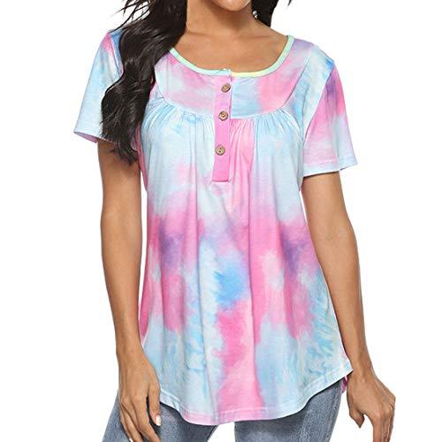 Botón con Cuello en V para Mujer Gradiente Tie-Dye Manga Corta Suelta Blusa para Mujer Informal Corta con Botones Túnica Plisada Tops Camisas Sueltas con Dobladillo Curvo Camiseta con Dobladillo