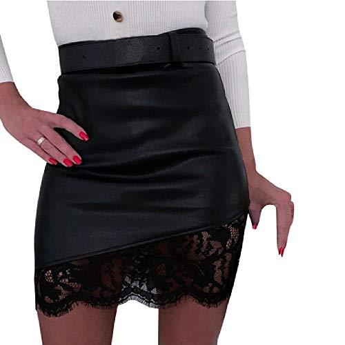 Mini Falda de Cuero con Cremallera con Cintura Alta con Falda de Cintura Alta para Mujer Sexy Nueva 2020