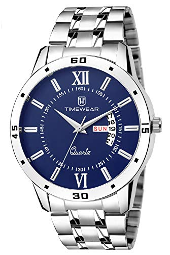 TIMEWEAR Timewear Casual Day Date Watch Collection for Men Analogue Men's Watch(Blue Dial & Silver Colored Strap)-231BDTG