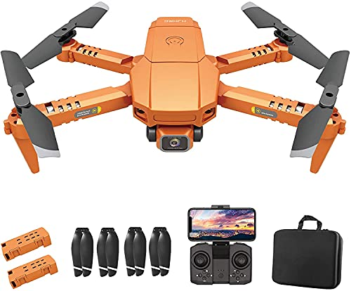 OBEST Mini Drone For Kids 4K Camera Fordable Drones, Height Hold, Headless Mode, WiFi FPV Video Transmission, One Touch Return Home, Suitable for Kids and Beginners, With 2 Batteries Zip Case (Orange)