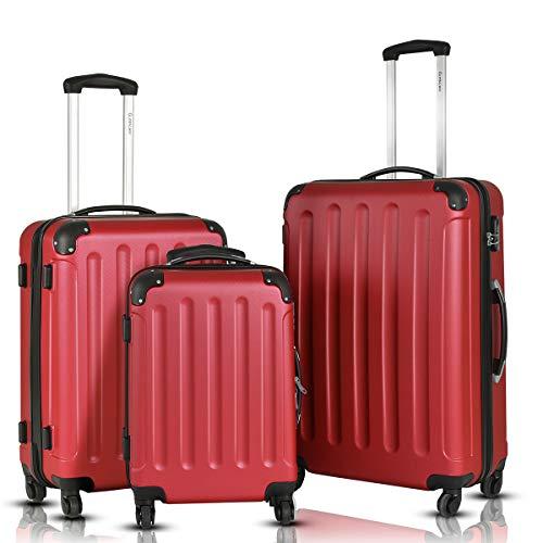 Goplus 3Pcs Luggage Set, Hardside Travel Rolling Suitcase, 20/24/28 Rolling Luggage Upright, Hardshell Spinner Luggage Set with Telescoping Handle, Coded Lock Travel Trolley Case (Wine)