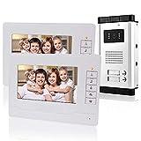 KDL Cableado Sistema de teléfono de puerta de video de 7 pulgadas 2 monitors 700TVL con 1 cámara exterior con dos botones de llamada, Visión nocturna por IR para multi-apartamentos/Las familias