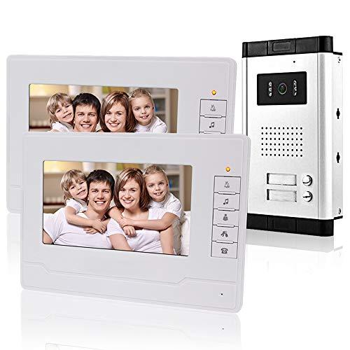 """KDL 7"""" Kabelgebundene Video-Türklingel Türsprechanlage System 2 Monitore mit 1 Außenkamera mit 2 Ruftasten, IR Nachtsicht, 700TVL, Zweiwege-Audio für Multi Apartments/Familien"""