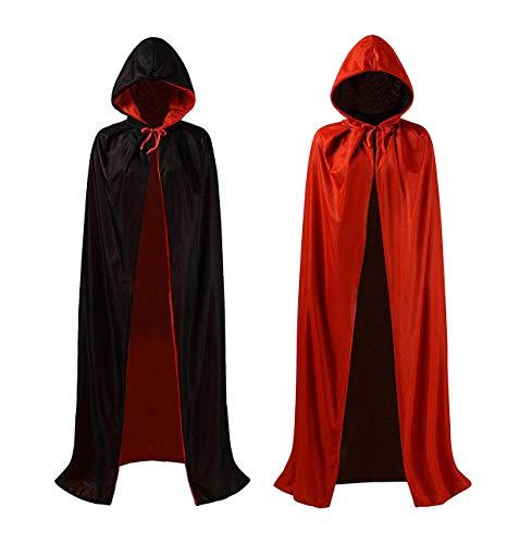 ZOEON Mantello con Cappuccio per Festa in Costume, Reversibile Nero Rosso Mantello per Festa di Halloween, 140cm