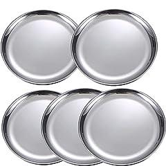 JMYDecor 5 Stück runde Edelstahlteller