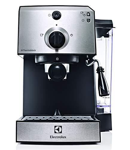 Electrolux EEA111 Cafetera EasyPresso con Bomba Profesional de 15 Bares de presión y función Vapor, 1250 W, 1.25 litros, Plástico, Plata Metalizado