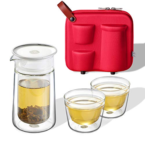 ZENS Travel Tea Set, Glass Portable Teapot Infuser Set for Loose Tea,160ml Double Wall Tea Pot and 2 Teacup with Eva Case for Travel Picnic, Red