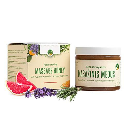 Huile de massage pour sauna bio - crème de miel naturelle pour sauna - crème de miel de haute qualité sans produits chimiques (Pamplemousse + Lavande + Romarin)