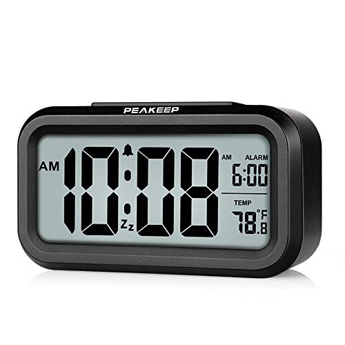 Peakeep Smart Night Light Digital Alarm Clock with Indoor Temperature, Battery Operated Desk Small Clock (Black)