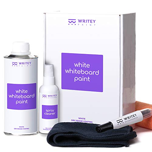 White Board Paint, 50 Square feet, White Coat, Stain Proof White Dry Erase Surface, Patented No Mixing, Whiteboard Paint Formula with Whiteboard Renew Spray Cleaner, Dry Erase Paint for Wall