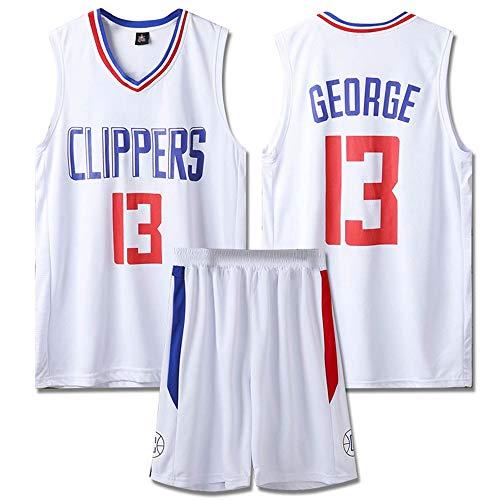Ordioy Maglia da Basket NBA da Uomo - Los Angeles Clippers # 13 Paul George, Divisa da Basket Swingman Jersey T-Shirt da Fan Senza Maniche Canotta Sportiva Top + Short,Bianca,XL