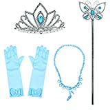 Toddler Princess Cinderella Little Girls Dress up With Tiara Crown Necklace Wand Gloves Party Accessories Gift Set(4pcs)
