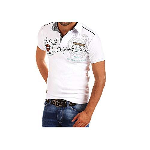 Celucke Polohemd Besticken Poloshirt Herren Mit Coole Print, Männer T-Shirt Kurzarm Polo Hemd Basic Shirt Freizeit Polohemden Kurzarmhemd Herrenhemden Sweatshirt Kurzarmshirt (Weiß,XL)