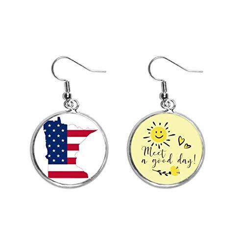 Minnesota USA Map Stars Stripes Bandera Forma Oído Gota Sol Flor Pendiente Joyería Moda