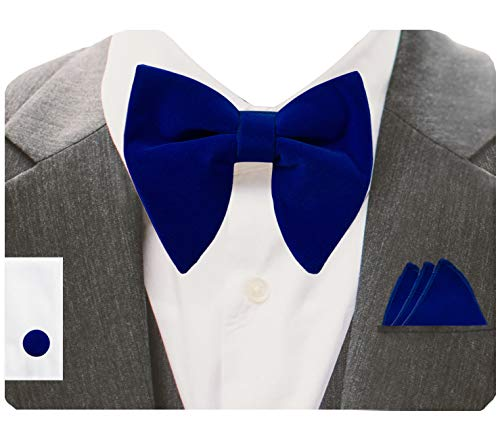 GUSLESON Velvet Big Bow Ties For Men Royal Blue Pre-tied Bowtie and Pocket Square Cufflink Sets (0571-06)