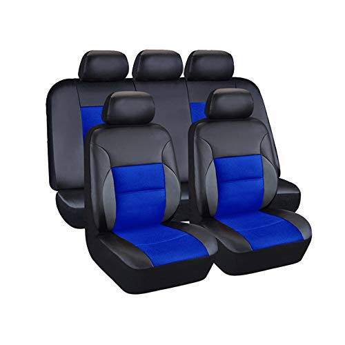 AUTO HIGH 11-Pieces Car Seat Covers Full Set - Premium Faux Leather Automotive Front and Back Seat Protectors - Fits Most Car Truck Van SUV, Black #1