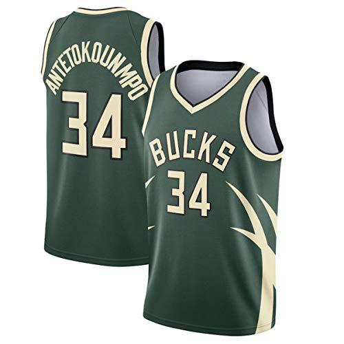 WSWZ Giannis Antetokounmpo NBA Camiseta De Baloncesto para Hombre 34# Bucks - Chalecos Cómodos Casuales Camisetas Deportivas Camisetas Sin Mangas,XXL(185~190CM/95~110KG)