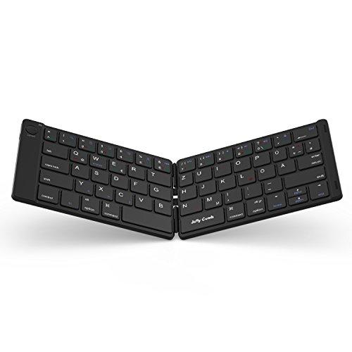 Jelly Comb Bluetooth Tastatur, Kabellose Mini Wiederaufladbare Faltbare Ultra Slim Tastatur, Deutsches Layout QWERTZ für Handy, Tablets und Smartphone mit iOS/Windows/Android, Schwarz