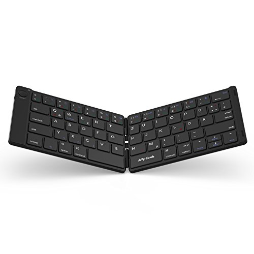 Jelly Comb Bluetooth Tastatur, Kabellose Mini Wiederaufladbare Faltbare Ultra Slim Tastatur, Deutsches Layout QWERTZ für Handy, Tablets & Smartphone mit iOS/Windows/Android, Schwarz