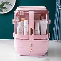 Lilac Fower Shop Lamp 化粧品収納ボックス引き出しタイプポータブルデスクトップ用防塵保管箱 (Color : Pink, Size : 30*23*39 cm)