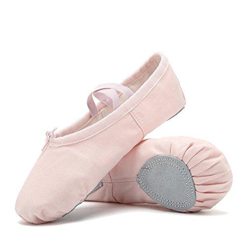 CIOR Ballet Slippers For Girls Classic Split-Sole Canvas Dance Gymnastics Yoga Shoes Flats(Toddler/Little Kid/Big Kid/Women) VTW01-2,Pink,25