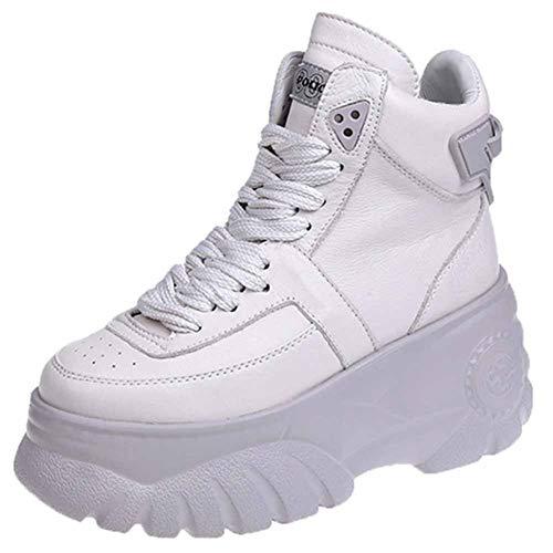 Scarpe da Ginnastica con Zeppa Nascoste da Donna Piattaforma con Punta Tonda Sneakers Alte con Lacci Stivaletti Tacco Alto Casual Scarpe da Passeggio Traspiranti