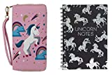 Unicorn Ladies Wallet with Unicorn Notes Holographic Spiral Journal Set for Girls and Women - Pink - Small