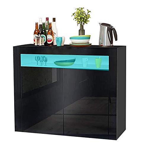 YOLEO Küchenschrank Sideboard mit LED-Leuchte Anrichte matt Hochglanz für Küche Esszimmer Wohnzimmer (schwarz, 108 x 92 cm)