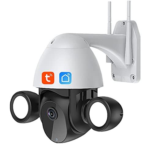 Cámara Floodlight Smart Tuya, Wifi Cámara para exteriores 3MP Disparador humano PTZ IP AI Seguimiento automático Audio bidireccional Visión nocturna, Vigilancia de seguridad