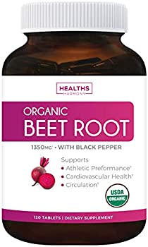 USDA Organic Beet Root Powder  120 Tablets  1350mg Beets Per Serving with Black Pepper for Extra Absorption - Nitrate Supplement for Circulation Heart Health Super Athletic Performance - No Capsules