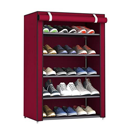DDyna Estante de Zapatos de Tela no Tejida de Gran tamaño a Prueba de Polvo, Organizador de Zapatos, Dormitorio, Dormitorio, Zapatero, Estante, gabinete, Color Rojo azufaifa, 6 Capas, 5 celosías
