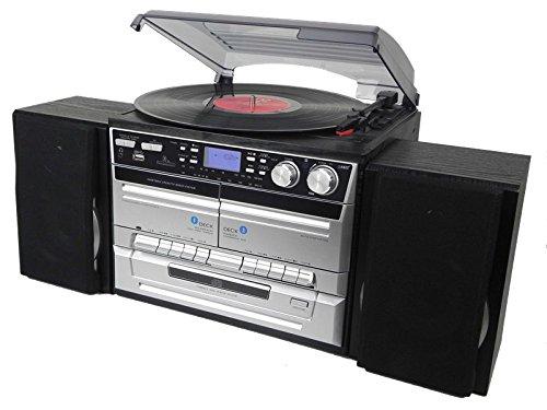 Denver 111201200070 Microsysteem in houtlook met geïntegreerde DAB+/radio, CD-speler, dubbele cassettedeck, platenspeler, USB-aansluiting, SD-kaartlezer en AUX-ingang zilver/zwart