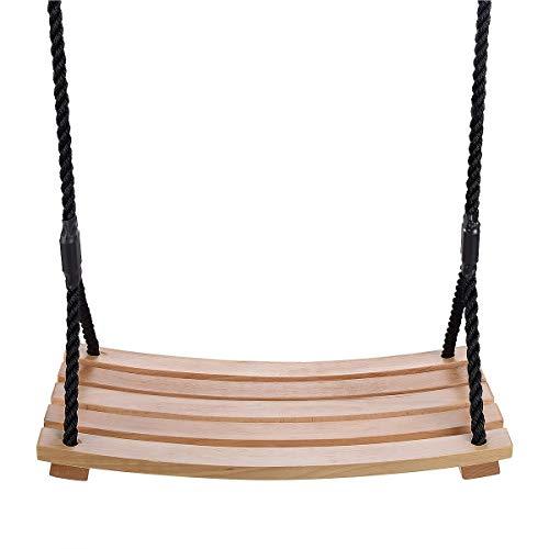 TALEEKEU Holzschaukel,bogenförmige wasserdichte Schaukel,Garten,Hof,Innen-,Außenschaukel aus Holz für Kinder Erwachsene Kinder (schwarz)